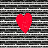 Pink heart on seamless vector striped pattern Stock Photography