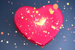 Pink heart shape. With sparks Royalty Free Stock Images