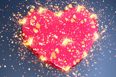 Pink heart shape. With sparks Stock Photography