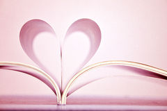 Pink heart shape of book pages. Royalty Free Stock Photography