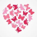 Pink heart shape butterfly design.  Stock Photo