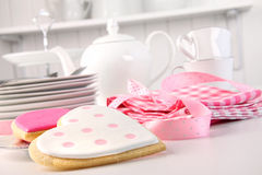 Pink heart-shape cookies for V