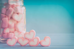 Pink heart shape marshmallow for love theme and Valentine backgr Royalty Free Stock Photo