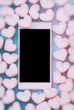 Pink heart shape marshmallow for love theme and Valentine backgr Royalty Free Stock Photos