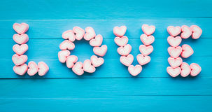 Pink heart shape marshmallow for love theme and Valentine concep Stock Photo