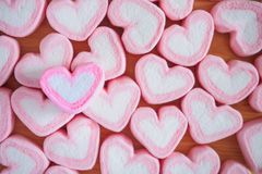 Pink heart shape marshmallow for valentines background Stock Photography