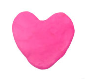 Pink heart shape plasticine clay Stock Photos