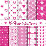 10 Pink heart shape seamless patterns collection. 10 Pink heart shape different love valentine's day seamless patterns collection. Endless texture with hearts in royalty free illustration