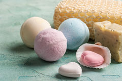 Pink heart shaped bath bombs Stock Photos