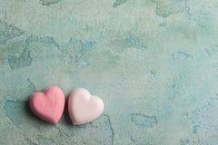 Pink heart shaped bath bombs Royalty Free Stock Photo