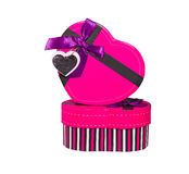 Pink Heart shaped box. In heart shape on white background Stock Photography