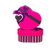 Pink Heart shaped box Stock Photography