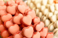 Pink heart shaped candies macarons Royalty Free Stock Photography