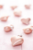 Pink Heart shaped Christmas baubles Royalty Free Stock Photography