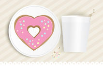 Pink heart shaped doughnut Royalty Free Stock Photos