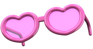 Pink heart shaped glasses 3d Stock Photo