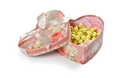 Pink heart shaped jewel box. Isolated on white Royalty Free Stock Photography