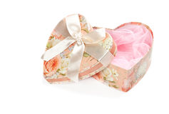 Pink heart shaped jewel box isolated. On white Royalty Free Stock Image