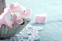 Pink Heart Shaped Marshmallows In A Metal Cupcake Royalty Free Stock Photography