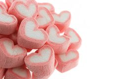 Pink heart shaped marshmallows isolated. On white back ground Royalty Free Stock Images