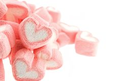 Pink heart shaped marshmallows isolated. On white back ground Stock Images