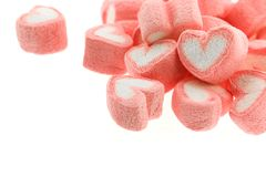 Pink heart shaped marshmallows isolated. On white back ground Stock Photos