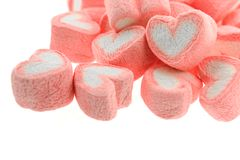 Pink heart shaped marshmallows. On white back ground Royalty Free Stock Images