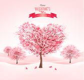 Pink heart-shaped sakura trees. Valentine's day. Royalty Free Stock Photos
