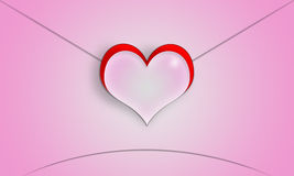 Pink heart-shaped Valentine's Day love letter. Stock Photos