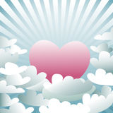 Pink heart in the sky with clouds, vector Royalty Free Stock Photos