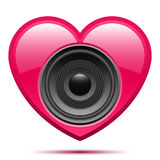 Pink heart with speaker Royalty Free Stock Images