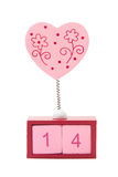 Pink heart on spring over calendar showing fourteen Royalty Free Stock Photography