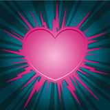 Pink heart starburst Stock Images