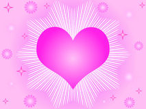 Pink heart and stars Stock Image