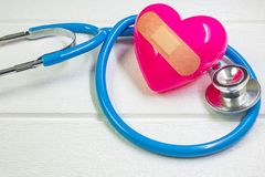 Pink Heart and stethoscopes for medical content. The pink Heart and stethoscopes for medical content stock photography