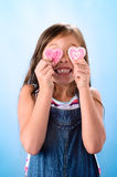 Pink heart sugar cookies for valentines day Royalty Free Stock Photo