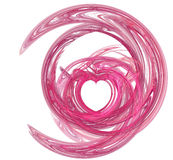 Pink heart swirl. Valentines heart shape, saturated pink swirl over white Stock Photos