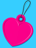 Pink heart tag. On blue vector illustration