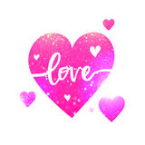 Pink heart with text for Valentine's Day. Stock Image