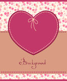 Pink heart textile label Stock Photo