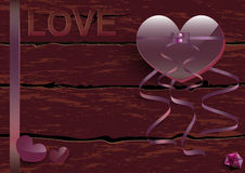 Pink heart tied up with ribbon with wordings. Love on grunge vintage cracked wooden background, love concept Stock Illustration
