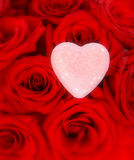 Pink Heart on Top of Red Roses Royalty Free Stock Photography