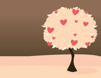 Pink heart tree. On pink land with dark sky Stock Image
