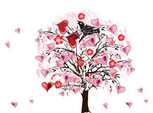 Pink heart tree illustration Stock Images