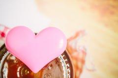 Pink heart for valentine background, vintage color tone. Stock Images