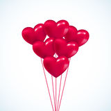 Pink heart Valentine balloons background. Colorful illustration Stock Images