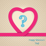 Pink heart valentine greeting card with scribbled question mark Stock Photos