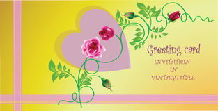 Pink heart (Valentine). Greeting card. Royalty Free Stock Images