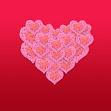 Pink heart valentine's day card on red background, pink flowers. Valentine's background Royalty Free Stock Images