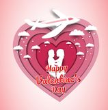 Pink heart, Valentine`s Day in paper-cut style There are men, women and planes. Paper art design stock illustration